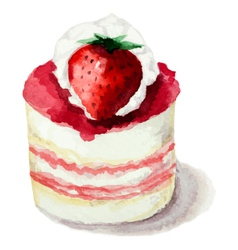 Hand painted watercolor cake with strawberries vector