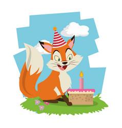 happy birthday fox cartoon card vector image