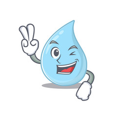 Happy raindrop cartoon design with two fingers vector