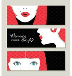 Happy Womens Day banner set with retro girl face vector image