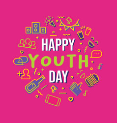 Happy youth day party icon set greeting card vector
