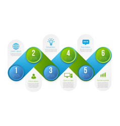 Infographics with 6 steps or options blue vector