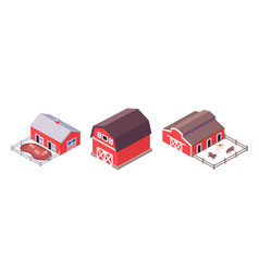 isometric farm buildings set isolated on white vector image
