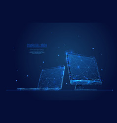 Laptop and monitor low poly vector