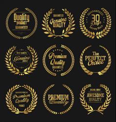laurel wreath golden labels collection vector image