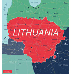 lithuania country detailed editable map vector image