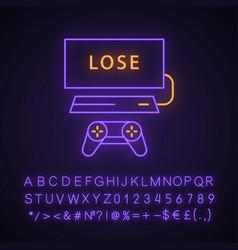 Losing game neon light icon vector