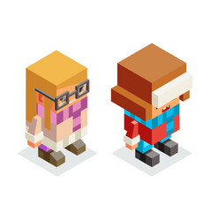 lowpoly children winter clothes isometric boy girl vector image