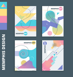 Memphis style cards 2 vector