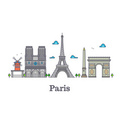 Modern france travel line landmark paris panorama vector