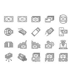 money line icon set vector image
