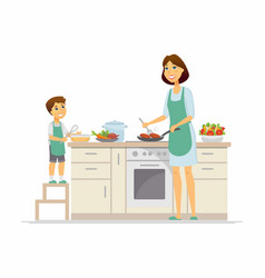 mother and son cooking - cartoon people characters vector image