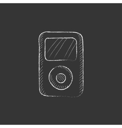 MP3 player Drawn in chalk icon vector image