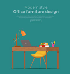 office workplace interior cartoon design vector image