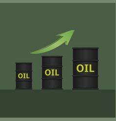 oil barrels with green arrow vector image