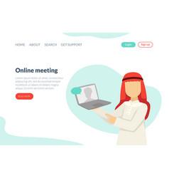 online meeting landing page template arab vector image