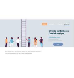 people group climbing career ladder way up new job vector image