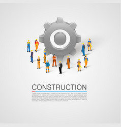 people with cogwheel teamwork concept vector image
