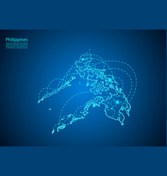 Philippines map with nodes linked by lines vector