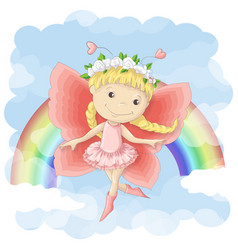 postcard a cute little fairy on vector image