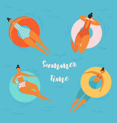 pretty relaxed women swimming on inflatable circle vector image