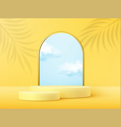 product display podium decorated with realistic vector image