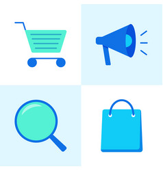 promotion and purchase icons set in flat style vector image