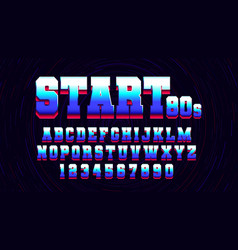 retro futuristic latin font from video games vector image