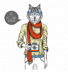 Retro hipster animal wolf with photo camera woman vector