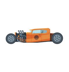 retro style race orange car old sports vehicle vector image