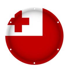 Round metallic flag of tonga with screw holes vector