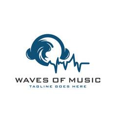sea wave music logo vector image
