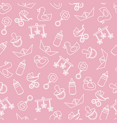 Seamless pattern of baby color icons and vector