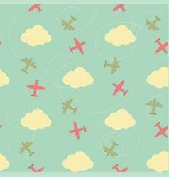 seamless pattern with clouds and planes vector image