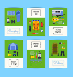 set cards with flat style camping vector image