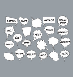 set comic speech balloons on grey background vector image