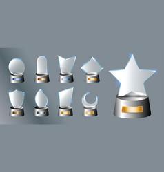 set glass trophy award vector image