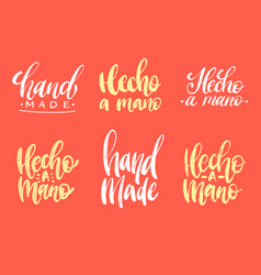 Set hecho a mano calligraphy spanish vector