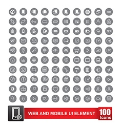 Set of 100 icon with background for web and mobile vector image