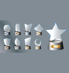 Set of glass trophy award vector