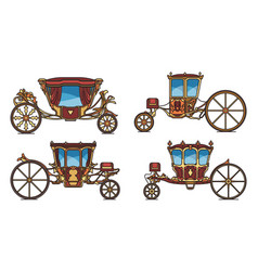Set royal horse chariot or vintage carriage vector