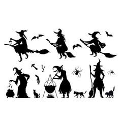 set silhouettes of witches in black ragged dress vector image