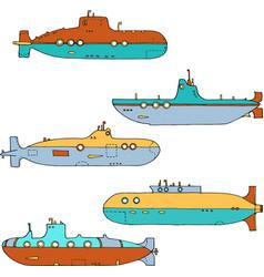 set submarines vector image
