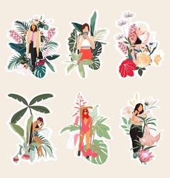 set summer spring cute elements vector image