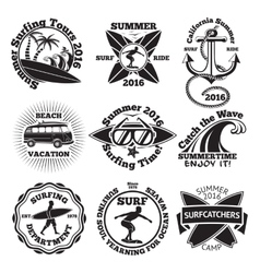 Set vintage surfing labels with - surfboard vector