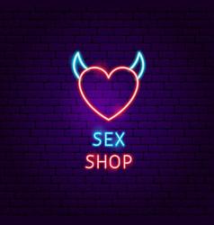 Sex shop neon label vector
