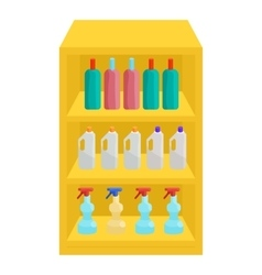 Shelves in shop with chemicals icon cartoon style vector