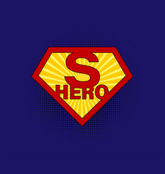 sign superhero on blue background with halftone vector image