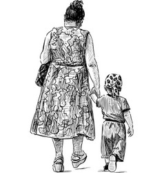 Sketch grandmother and grandson going vector