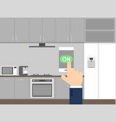 smart kitchen technology concept control with vector image